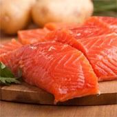 Fresh salmon fillets.