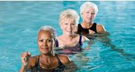 Women with advanced rheumatoid arthritis in a swimming pool