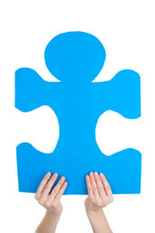 A blue puzzle piece, used to signify autism awareness.
