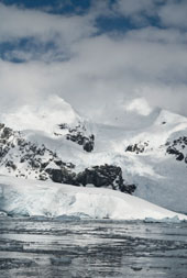 Mountains by the ocean in Antarctica.
