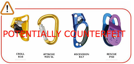Potentially Counterfeit Petzl Products