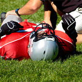 Injured football player.