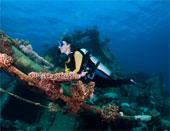 A scuba diver by a shipwreck.