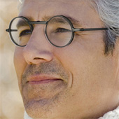 A man wearing superfocus glasses.