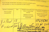 Paperwork proving administration of a yellow fever vaccine.
