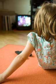 A girl watching television