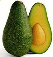 Two halves of an avocado.