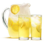 A pitcher of fresh-made lemonade.