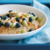 Oatmeal with blueberries.