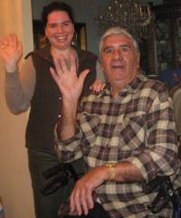 Elizabeth Santeramo and her father wave goodbye.