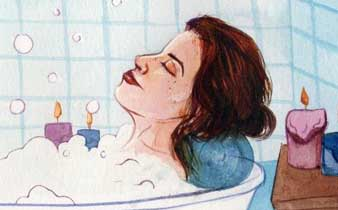 woman with ulcerative colitis taking a bath to relax