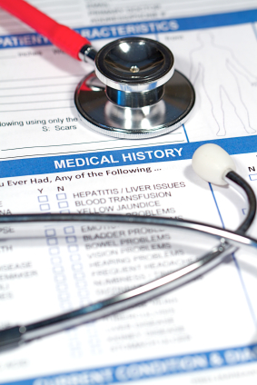 A stethoscope and paperwork showing medical history. Photo courtesy of iStockphoto.com