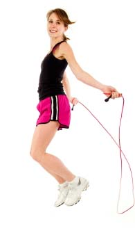A woman jumping rope