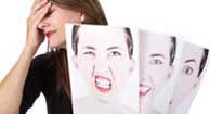 woman with multiple sclerosis holding pictures of different faces