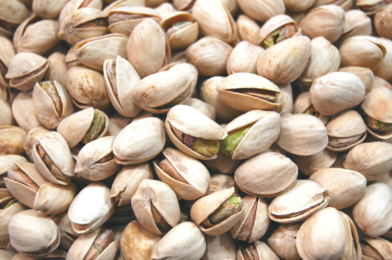 A bunch of fresh roasted pistachio nuts