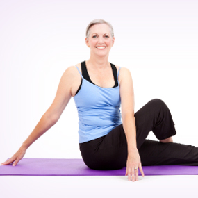 woman yoga stretching