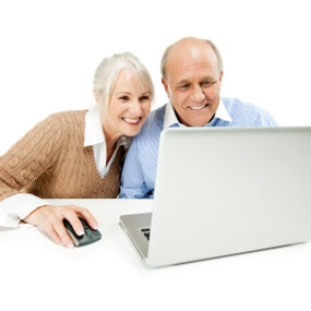 Woman and man looking up osteoporosis information on the internet