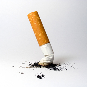 A cigarette being stubbed out.