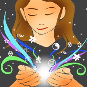 illustration of woman with colorful swirls and glow in cupped hands