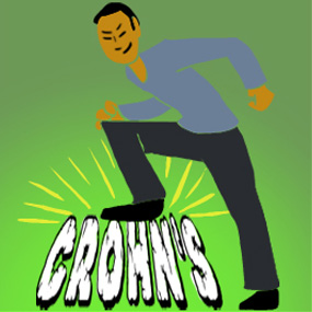 man standing on the word crohn's