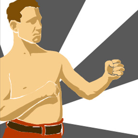 Illustration of shirtless man in fist clenched fighting position