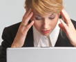 woman stressed with laptop