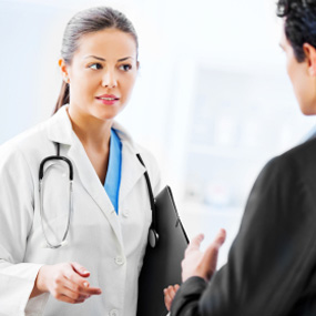 doctor speaking with person
