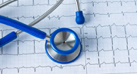 stethoscope over heart rate chart