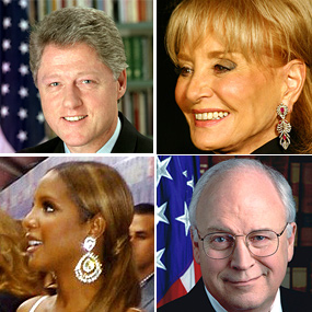 Famous faces of heart disease include Dick Cheney, Barbara Walters, and Bill Clinton
