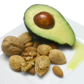 Half an avocado and a handful of almonds.