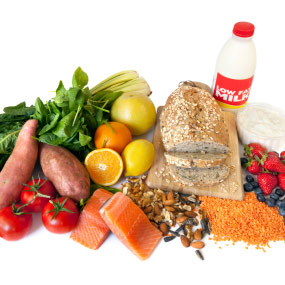 A selection of healthy foods from all food groups.