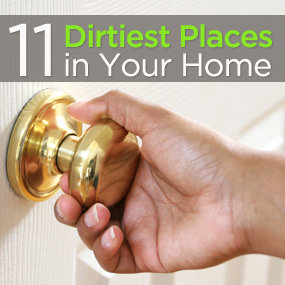 hand touching door knob and 11 dirtiest places in your home