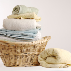 Clean Folded Towels in Basket