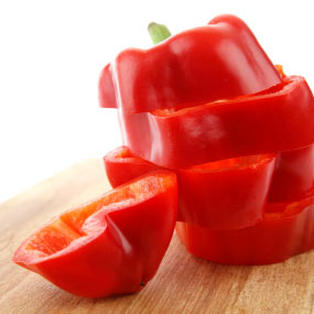 Sliced red bell pepper.