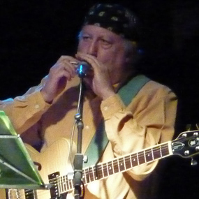 Guitarist Peter Green plays the harmonica during a live performance.