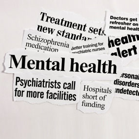 Newspaper headlines regarding mental illness