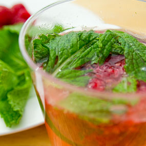 Rasberry mojito with fresh mint leaves.