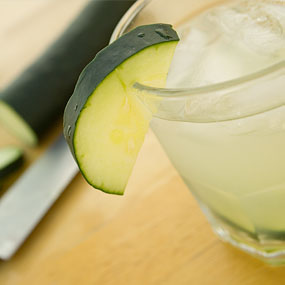 A cucumber citrus gimlet with fresh cucumber slices.