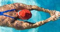woman with multiple sclerosis swimming