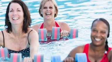 Women with multiple sclerosis doing water therapy
