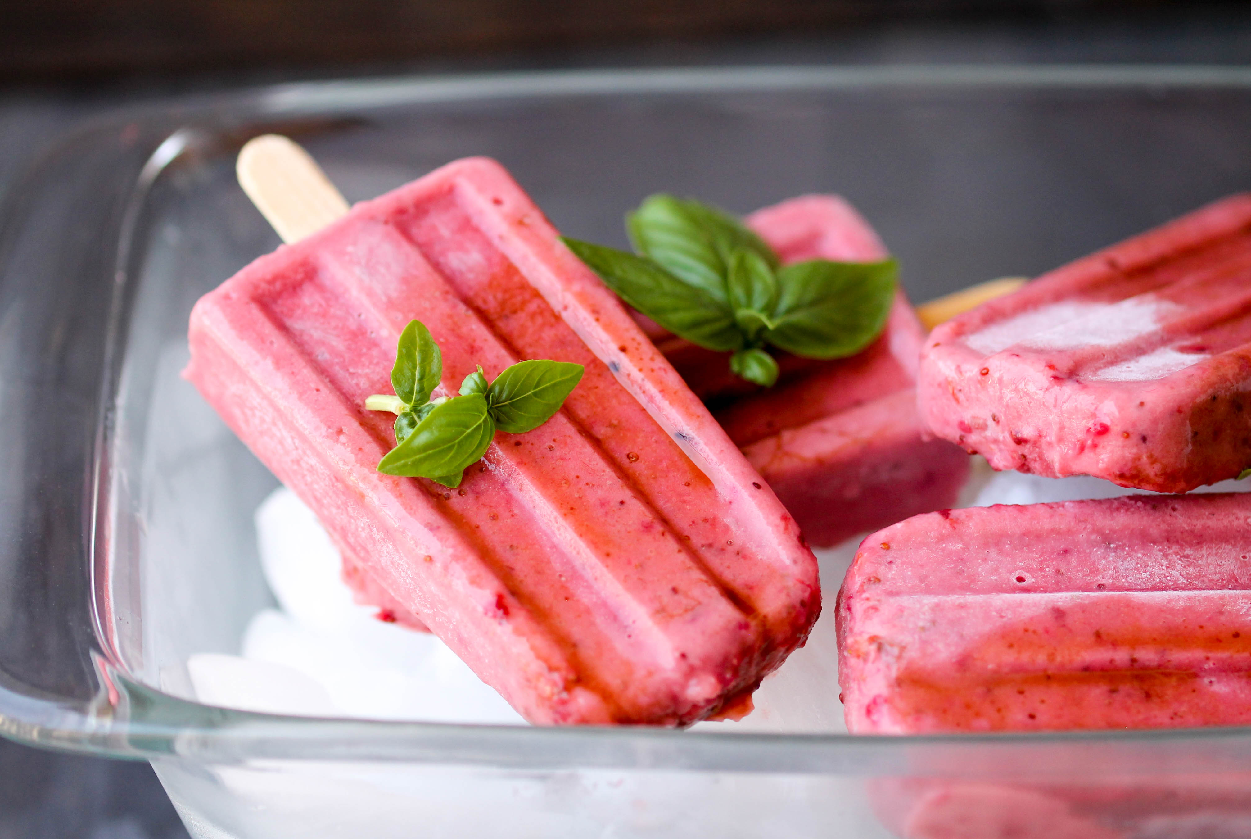 Balsamic Roasted Strawberry Popsicles