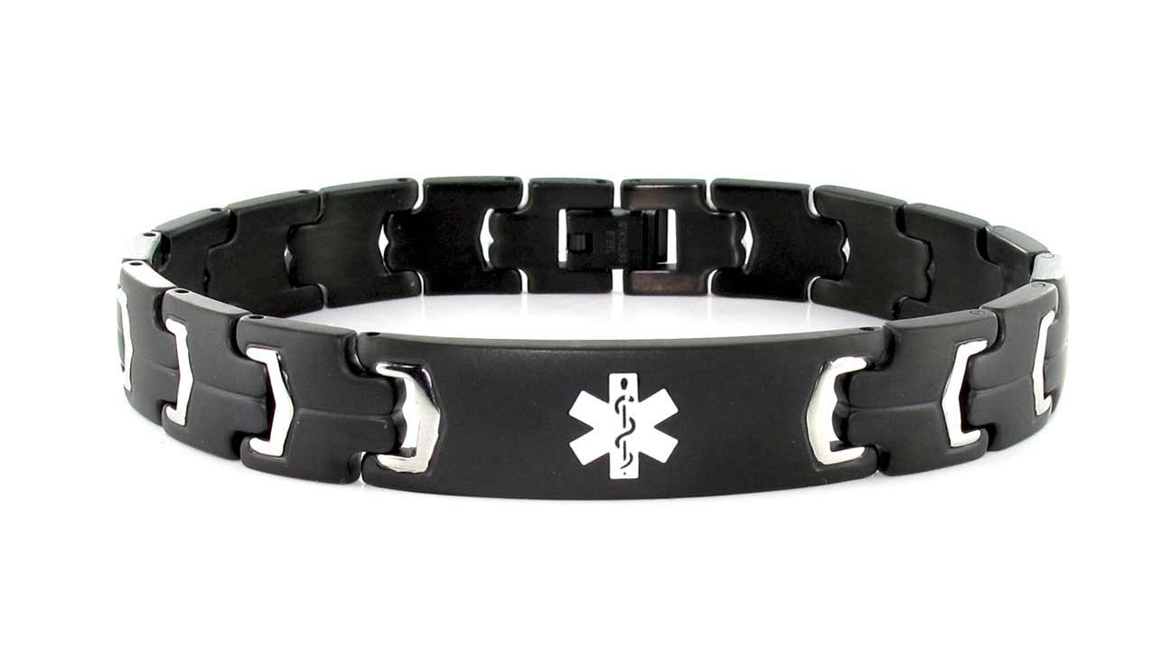 10 best diabetic id bracelets the black and stainless steel band offers an alternative look while still relaying important medical information the bracelet has a white mozeypictures Images