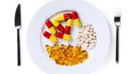 A plate full of pills