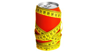 diet soda wrapped in measuring tape