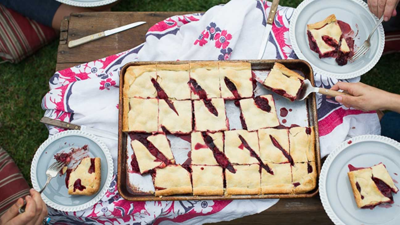 Chocolate Triple-Berry Slab Pie