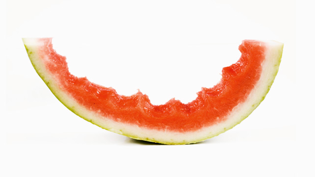 half eaten watermelon slice