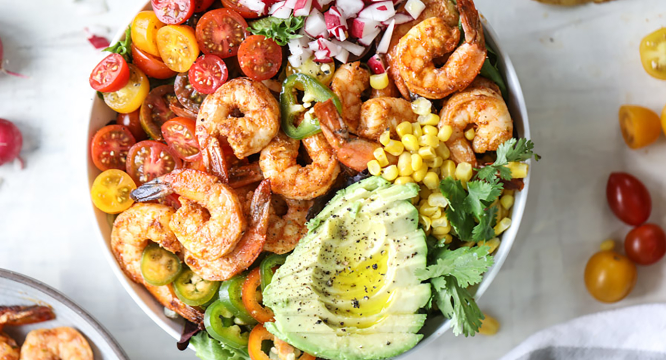 Tequila Shrimp Taco Salad