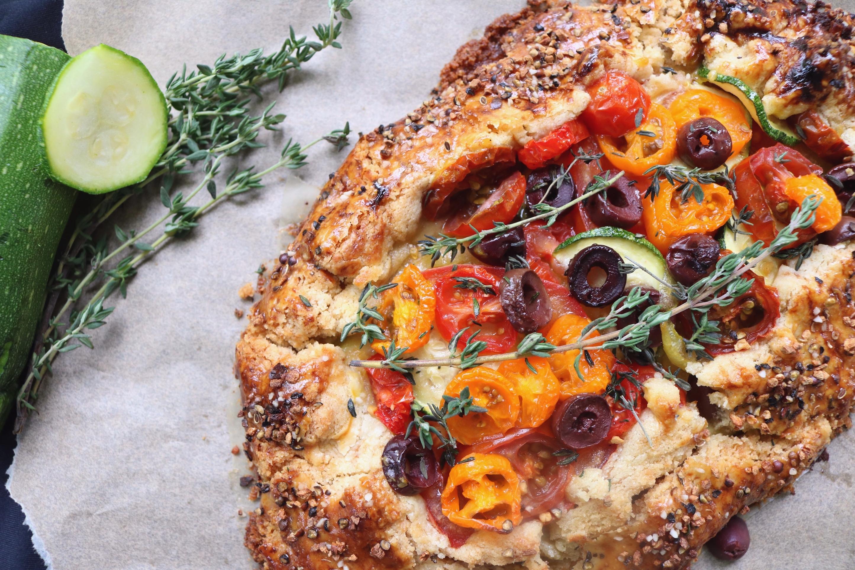 Tomato Zucchini Galette with Feta