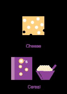 cereales y queso