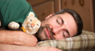 man getting healthy sleep